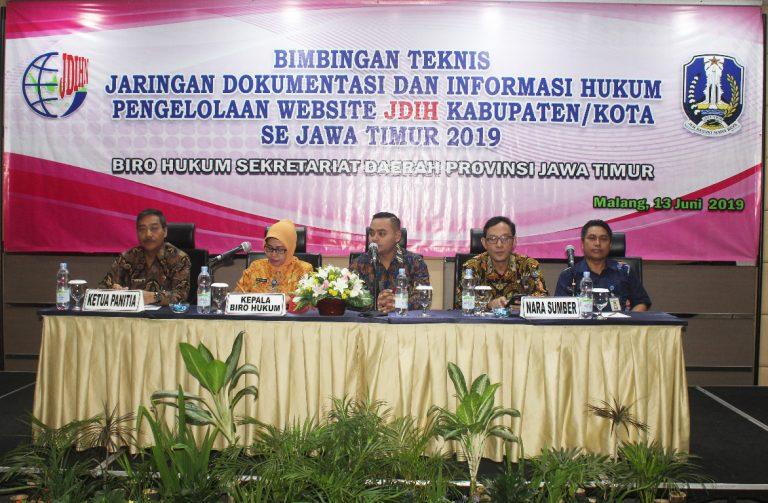 Bimbingan Teknis Pengelolaan Website JDIH Kabupaten/Kota Jawa Timur Tahun 2019